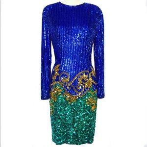 Vintage Blue, Green & Gold Sequin Dress